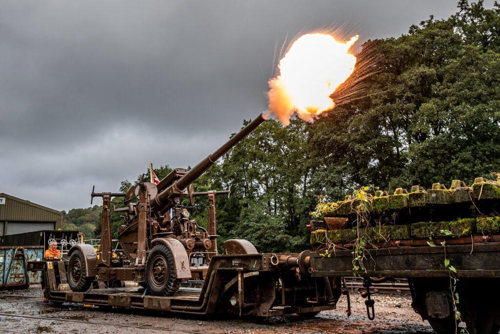 Live Firing 1942 AA Gun, Newbrideg North Yorkshire UK