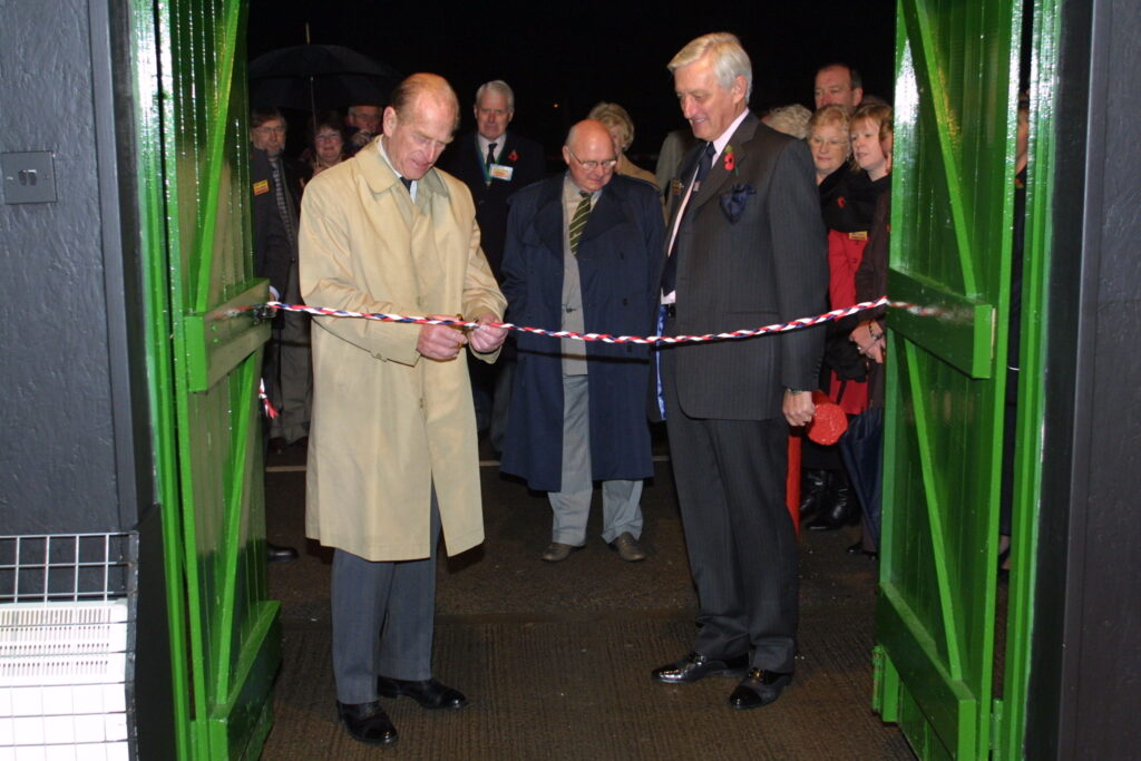 HRH cutting the ribbon on Human Torpedo exhibition