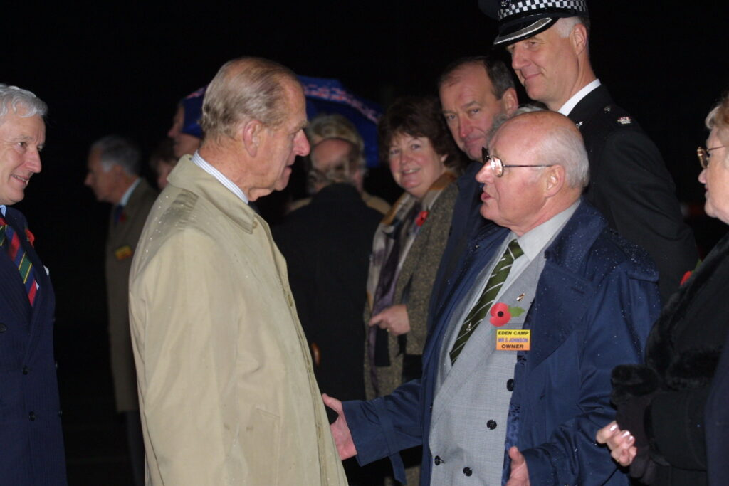 HRH with Stan Johnson founder of Eden Camp